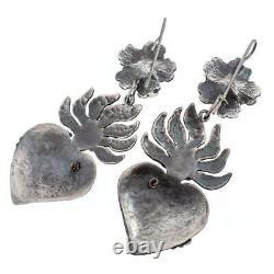 FEDERICO JIMENEZ Earrings CORAL Sterling Silver Dangles FRIDAS HEART DOVES
