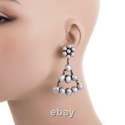 FEDERICO JIMENEZ Earrings PEARL MEXICAN WEDDING Bridal Sterling Silver Dangles