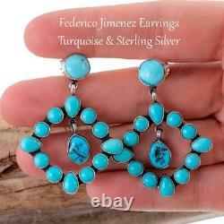FEDERICO JIMENEZ Earrings TURQUOISE Sterling Silver Dangles Chandelier Dangles