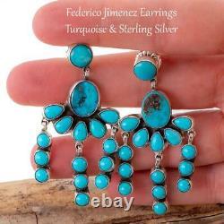 FEDERICO JIMENEZ Earrings TURQUOISE Sterling Silver Dangles Chandelier Waterfall