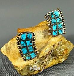 FINEST c. 1930s Zuni COIN Silver OLD BLACK WEB #8 Turquoise Mosaic Inlay Earrings