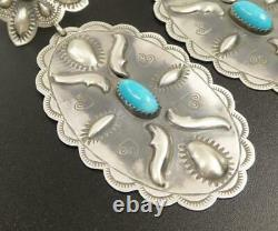 Fab! Navajo Stamped Sterling Silver Turquoise Large Concho Statement Earrings