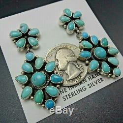 Fabulous NAVAJO Sterling Silver CLEAR BLUE TURQUOISE Cluster EARRINGS Pierced