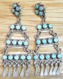 Fantastic Zuni Vintage Sterling Silver Turquoise Dangle Earrings 4555