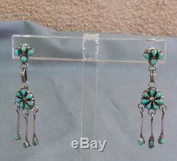 Fine Vintage Zuni Petit Point Turquoise Silver Drop Dangle Pierced Earrings