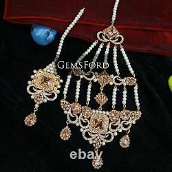 Full Handmade Bridal Mala Jewellery Set Pakistani Indian Choker Earrings Tikka