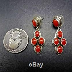 Geneva Apachito NAVAJO Sterling Silver and CORAL Cluster EARRINGS Pierced