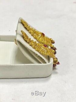 Genuine Rubies 23k Yellow Gold Vintage Dangling Earrings Indian Estate