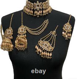 Gold Champagne Choker Pakistani Bridal Wedding Jewellery, Indian Jhumki Earrings