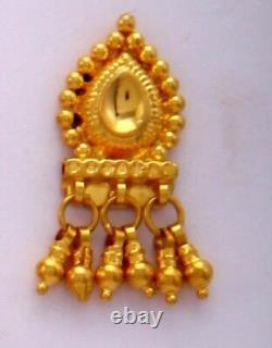 Gold Earrings 22K Indian Traditional With Filigree Dangles Jewelry Wedding Gift