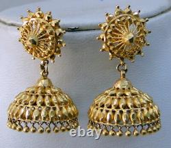 Gold Earrings 22K Indian tranditional handmade dangles jewelry jumkee jumki
