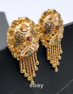 Gold Earrings 22K Indian tranditional handmade with filigree dangles jewelry