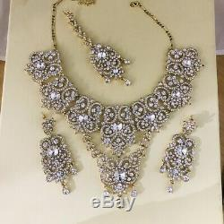 Gold Indian bridal set pakistani wedding 9 Piece diamanté kundan polki jewellery