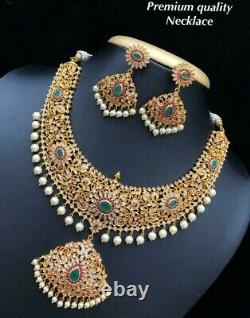 Gold Plated Bollywood CZ AD Fashion Choker Rani Haar Necklace Earring Set