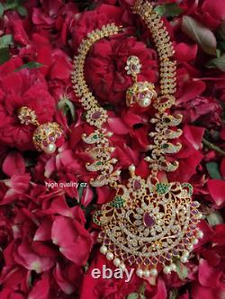 Gold Plated Bollywood CZ AD Indian Traditional Pendent Necklace Earring Set