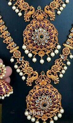Gold Plated Bollywood CZ Ruby Necklace Earrings Micro Bridal Indian Jewelry Set