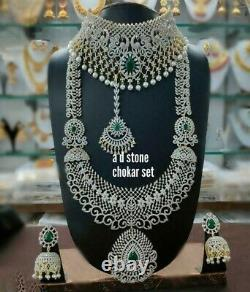 Gold Plated Indian Bollywood Bridal CZ Jewelry Necklace Jhumka Earrings Set