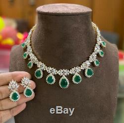 Gold Plated Indian Bollywood CZ AD Jewelry Necklace Earrings Green Emerald Set