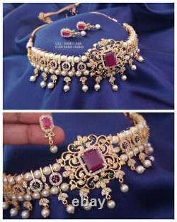 Gold Plated Indian Bollywood CZ AD Jewelry Necklace Earrings Pearl Choker Set