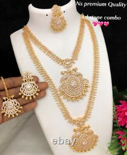 Gold Plated Indian Bollywood CZ Jewelry Chain Necklace Earrings Bridal Tikka Set