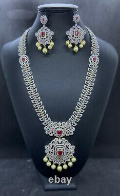 Gold Plated Indian Bollywood CZ Jewelry Necklace Earrings Long Chain Haram Set