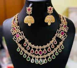 Gold Plated Indian Bollywood CZ Jewelry Necklace Earrings Red Green Jhumka Set