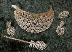 Gold Plated Indian Bollywood Chokerl CZ AD Jewelry Necklace Earrings Tikka Ring