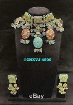 Gold Plated Wedding Indian Fashion Jewelry Necklace Earring Tikka Set Women New