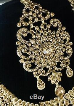 Gold diamanté Indian bridal set pakistani wedding Jewellery complete 8 Piece