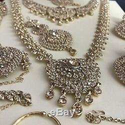 Gold diamanté indian bridal set pakistani style 9 Piece Wedding Jewellery Kundan