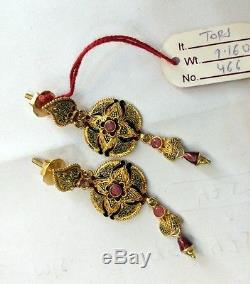 Gold earrings 22K Gold handmade Dangles traditional Indian jewelry 494-096