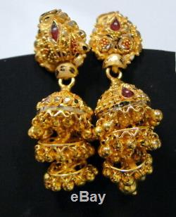 Gold earrings 22K Indian jewelry Fine traditional wedding jewellery Jumkee