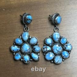 Gorgeous NAVAJO Sterling Silver GOLDEN HILLS TURQUOISE Cluster EARRINGS