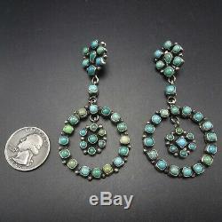 HUGE Ella Peter NAVAJO Sterling Silver TURQUOISE Mosaic Cluster Dangle EARRINGS