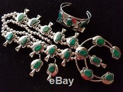 HUGE! Genuine GREEN MALACHITE Squash Blossom Necklace Bracelet & Earrings SET