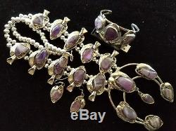 HUGE! Genuine PURPLE AMETHYST Squash Blossom Necklace Bracelet & Earrings SET