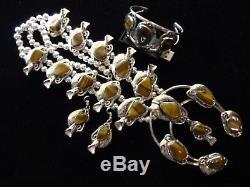HUGE! Genuine TIGER'S EYE Squash Blossom Necklace Bracelet & Earrings SET