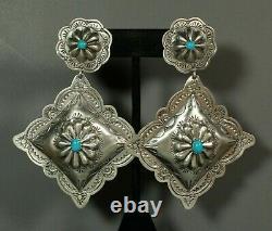HUGE Navajo Concho Earrings Turquoise Sterling Stamped Post Dangle Rita Lee