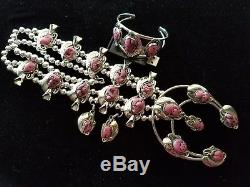 HUGE! Silver CHUNKY PINK CORAL Squash Blossom Necklace Bracelet & Earrings SET