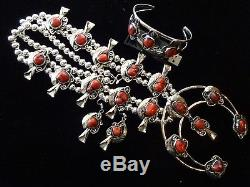 HUGE! Silver Chunky RED CORAL Squash Blossom Necklace Bracelet & Earrings SET