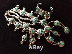 HUGE! Silver Chunky TURQUOISE Squash Cross Necklace Bracelet & Earrings SET