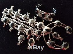 HUGE Silver Polished Black ONYX Squash Blossom Necklace Bracelet & Earrings SET
