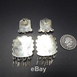 HUGE Vintage NAVAJO Sterling Silver & PURPLE Spiny Oyster Shell Cluster EARRINGS