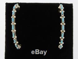 Half-Hoop Sleeping Beauty Turquoise Petit Point Earrings