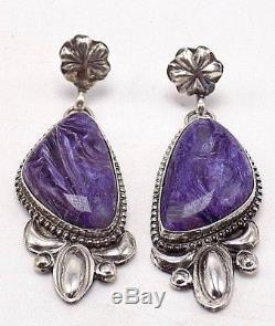 Handmade Charoite Earrings Set In Sterling Silver- Samantha Yazzie