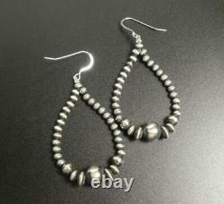 Handmade Navajo Pearl Sterling Silver Bead Choker Necklace & Hoop Earrings Set