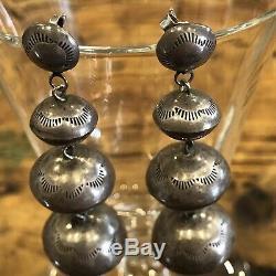 Handmade Navajo Pearls Vintage Sterling Silver Long Dangle Earrings 2.5 Estate