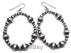 Handmade Sterling Silver Navajo Pearls French Hook Earrings