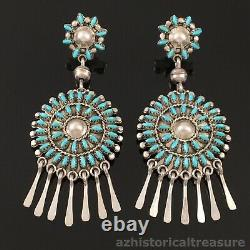 Harvey Kallestewa Native American Zuni Silver & Turquoise Needlepoint Earrings
