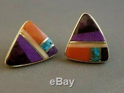 Hopi Verma Nequatewa SONWAI 14KT Gold Multi Stone Inlay Earrings